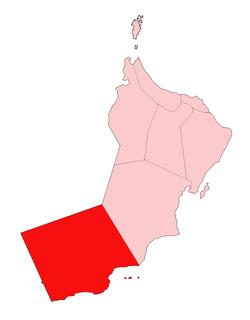 高亮显示区域为佐法尔省在阿曼苏丹国中位置