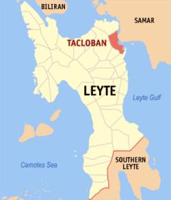 塔克洛班市在莱特省的位置