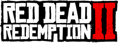 """The logo of Red Dead Redemption 2. """"2"""" is stylized as the Roman numeral """"II""""."""