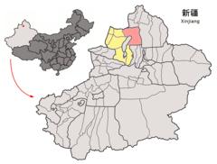 Location of Hoboksar within Xinjiang (China).png