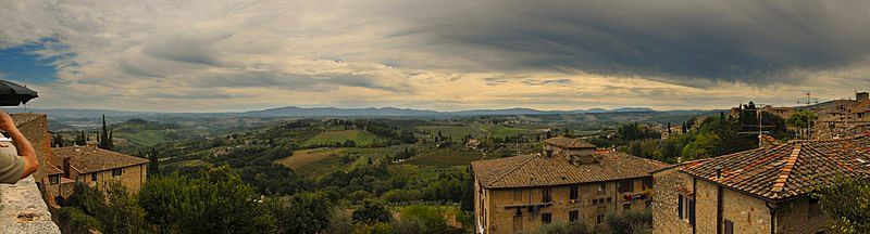 Panorama of San Gimignano and surrounding landscape
