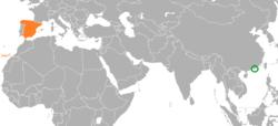 Map indicating locations of Hong Kong and Spain