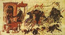 Medieval illustration showing cavalry sallying from a city and routing an enemy army