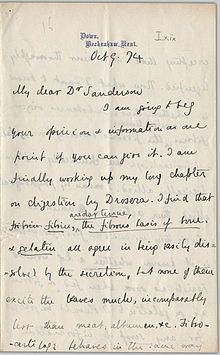 handwritten letter from Charles Darwin to John Burdon-Sanderson dated 9 October 1874