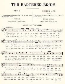 """A page of sheet music shows a melody under the headings """"THE BARTERED BRIDE"""", """"ACT I."""", """"SCENE I."""", and """"CHORUS OF VILLAGERS""""."""
