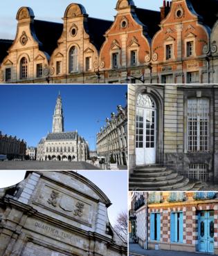 由上顺时针:一系列弗莱明-巴洛克风格建筑群、圣瓦斯特修道院、一间多彩房屋、瓦乌班要塞、市政厅及其钟楼
