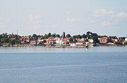 Öregrund seen from a boat moving between Gräsö and Öregrund