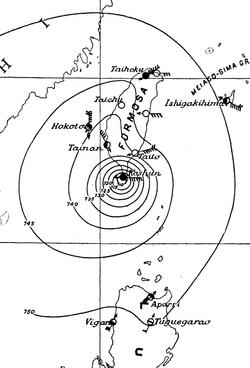 1911年8月26日下午9时的天气图,显示台风位于台湾南部