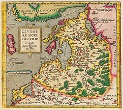 Livonia, as shown in the map of 1573 of Joann Portantius.