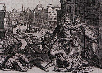 16th century engraving of the massacre of Thessalonica in the hippodrome