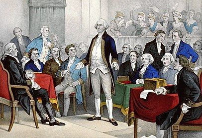 Scene from the First Continental Congress, George Washington appointed as Commander-in-Chief for the new Continental Army besieging Boston.