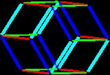 Bilinski dodecahedron parallelohedron.png
