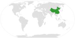 中国和哥斯达黎加在世界的位置