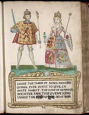 """A picture on a page in an old book. A man at left wears tights and a tunic with a lion rampant design and holds a sword and sceptre. A woman at right wears a dress with an heraldic design bordered with ermine and carries a thistle in one hand and a sceptre in the other. They stand on a green surface over a legend in Scots that begins """"James the Thrid of Nobil Memorie..."""" (sic) and notes that he """"marrit the King of Denmark's dochter""""."""
