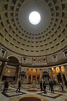 Vertical panorama image of the interior of the Pantheon in Rome from the floor to the ceiling showing also the main apse and the restored section of the attic level
