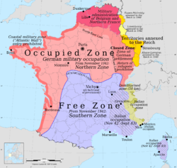 German and Italian occupation zones: the zone occupée, the zone libre,the zone interdites, annexed Alsace-Lorraine, Luxembourg and Eupen-Malmédy, and the Military Administration in Belgium and Northern France