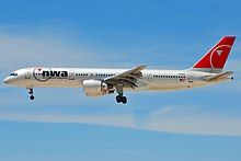A Northwest Airlines 757-251 with PW2000 engines in flight.