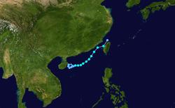 强热带风暴泰利的路径图