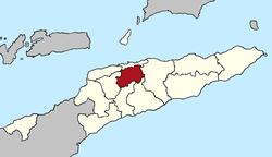 艾莱乌区(红色)在东帝汶的位置