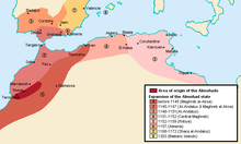 Map of North Africa and Spain, with several shades to mark territories