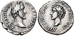 Coin of Antoninus Pius, Marcus's predecessor, depicting Antoninus on the obverse and Marcus on the reverse.