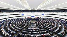 European parliament hemicycle in Strasbourg, France