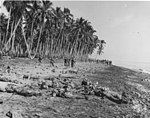 Dead Japanese soldiers, killed assaulting United States Marine positions, lie on the sandbar at the mouth of Alligator Creek, Guadalcanal after the battle on August 21, 1942.