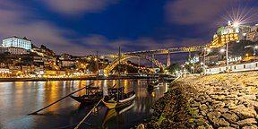 View of Ribeira district and Luiz I bridge from Vila Nova de Gaia,