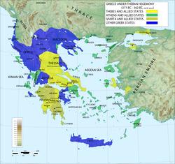 前362年,底比斯力量巅峰时期的希腊地图,显示了底比斯、斯巴达与雅典的势力范围