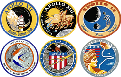 Composite image of six production crewed Apollo lunar landing mission patches, from Apollo 12 to Apollo 17.