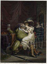 Falstaff cuddling Doll Tearsheet in a scene from a Shakespeare play