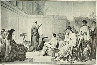 Illustration showing Pythagoras teaching a class of women
