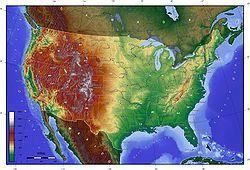 美国本土48个州分的地势图