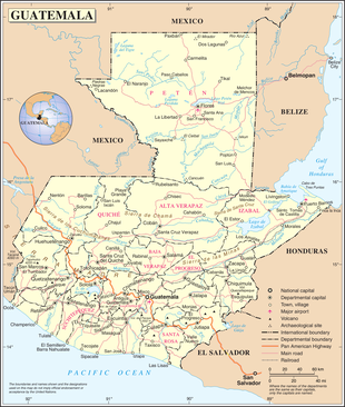 Map of Guatemala and its bordering countries