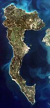 Corfu as seen from the ISS in 2001
