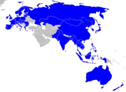 亚欧会议国家以蓝色显示