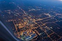 Downtown Lansing, Michigan, as seen from the air early one morning in May, 2017.jpg