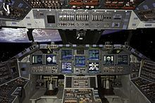 The view from the Atlantis cockpit while in orbit