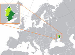 Declared (light green and dark green) and controlled territory (dark green) of the DPR