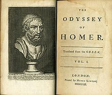 """Open ancient book, showing on the left page a bust of a bearded man, on the right the title page giving the following information: """"The Odyssey of Homer, transalted from the Greek. Vol. I, London. Printed for Henry Lintot MDCCLII"""""""