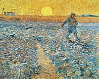 A man is scattering seeds in a ploughed field. The figure is represented as small and is set in the upper right and walking out of the picture. He carries a bag of seed over one shoulder. The ploughed soil is grey; behind it rises a standing crop and, in the left distance, a farmhouse. In the centre of the horizon is a giant yellow rising sun with emanating yellow rays. A path leads into the picture, and birds are swooping down.