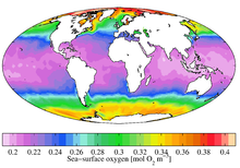 Annual mean dissolved oxygen levels at the sea surface from World Ocean Atlas 2009.