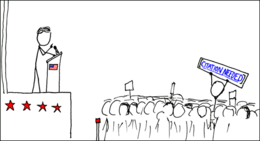 """A cartoon of a political rally, with someone in the crowd holding up a banner reading """"[Citation needed]"""""""