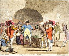 Centre: George III, drawn as a paunchy man with pockets bulging with gold coins, receives a wheel-barrow filled with money-bags from William Pitt, whose pockets also overflow with coin. To the left, a quadriplegic veteran begs on the street. To the right, George, Prince of Wales, is depicted dressed in rags.