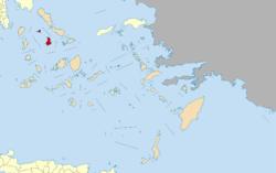 锡罗斯岛在南爱琴(橙色示)的位置