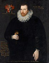 Portrait of a man dressed in black with a white lace ruff