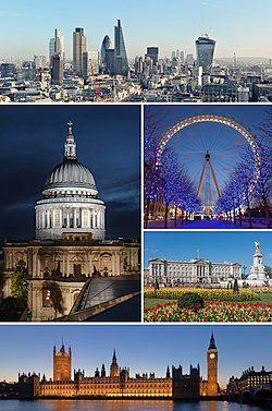 从上方顺时针依序为:伦敦市中心天际线、伦敦眼、白金汉宫、威斯敏斯特宫、圣保罗大教堂
