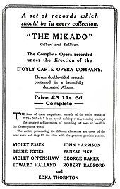 Poster advertising, in plain type, a recording of The Mikado