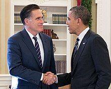 Photograph of Barack Obama and Mitt Romney