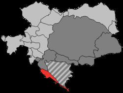 达尔马提亚王国(以红色表示)